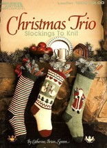 Y960 Knit PATTERN Book ONLY Christmas Trio of Stockings Stripe Goose Santa - $17.50