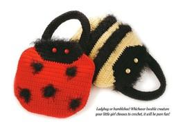 W318 Crochet PATTERN ONLY Bumblebee and Ladybug Kids' Handbag Purse Patt... - $7.50