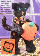 W239 Crochet PATTERN ONLY Halloween Kitty Cat w/ Pumpkin Toy Doll Pattern - $7.50
