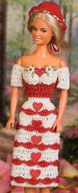 W346 Crochet PATTERN ONLY Fashion Doll Be My Valentine Dress and Hat Pat... - $7.50