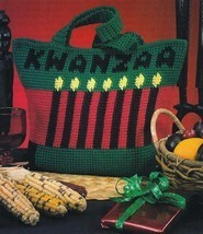 X528 Crochet Pattern Only Kwanzaa Tote Bag Carry All Pattern - $7.50