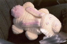 W415 Crochet PATTERN ONLY Buckle-Up Bear and Bunny Seat Belt Cover Pillo... - $7.50