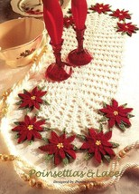 X600 Crochet PATTERN ONLY Poinsettias & Lace Doily and Centerpiece Christmas - $10.50