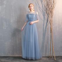 Bridesmaid Dress Off Shoulder Sweetheart Tulle Empire Dress Floor Length Wedding image 5