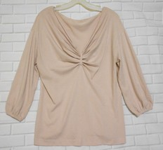 Ann Taylor Large Pink Gathered Scoop Neck 3/4  Sleeve Pullover Sweater - $15.55