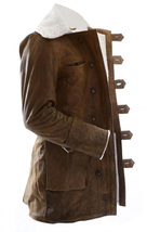 Bane Dark Knight Rises Jacket Genuine Leather Fur Buffing Brown Trench Coat image 2