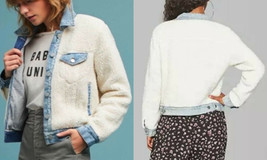 Denim + Sherpa Jacket Large Blue Jean Trucker Coat Faux Fur Blogger's Fa... - $34.30