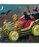 Antique Halloween Postcard Tucks Humanized Goblin Taxi Cab Watermelon Ca... - $79.94