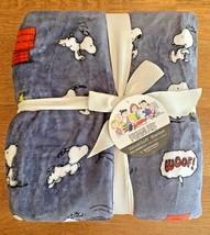 "Berkshire Velvet Soft Peanuts Snoopy Woodstock Throw Blanket 90"" X 90"" Gray New - $59.95"