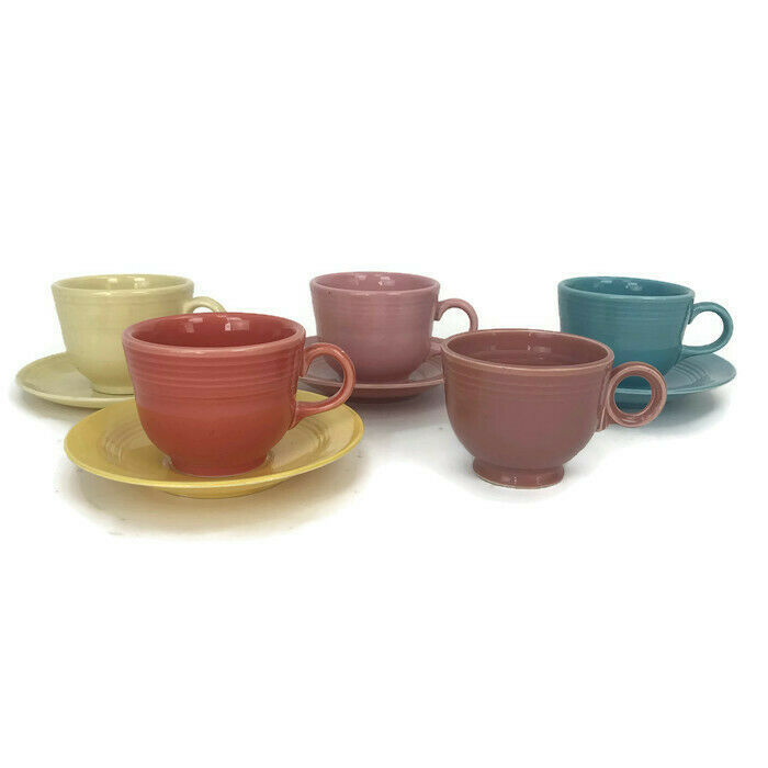 Vintage Fiesta Homer Laughlin 5 Cups & 4 Saucers Assorted Colors Some Marked - $32.69