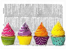 Art N Wordz Colorful Cupcakes Original Dictionary Page Wall/Desk Pop Art... - $24.99