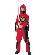 Kids Red Ninja Gold Skull Costume Cosplay Dress Up Large - $9.89