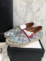 100% Authentic GUCCI MONOGRAM Slip On Logo Espadrilles Shoes Flats 37 image 2