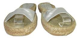 Nine West  Sandals Size 7M  Slides Womens Silver Leather  - $12.86