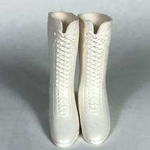 white Pair of Chrissy Doll Lace Up Boots Vintage Marked Ideal 1971 - $19.80