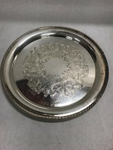 14 in. Round Silver plate Rogers Simon george  platter Vintage etch - $37.03