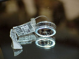 Gucci 18k White Gold 66 Diamond Spinner Ring Sz 6.5 New Tag M/F Logo Aut... - $4,643.09