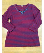 Jcrew Maroon And Navy Blue Striped 100% Cotton Tee Bejeweled Size M - $15.84