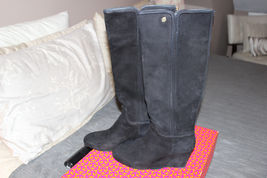 Tory Burch Irene Black Wedge Softy Suede Tall Boot Size 9 - $150.00