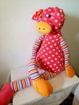 "CS INTL Jumbo Pig 37"" Plush Stuffed Animal Stripes Polka Dots Pink Orang... - $36.51"