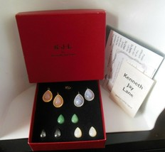 Vintage Signed KJL Magnetic Stone Earrings W/5 Pair of Interchangeable S... - $44.55