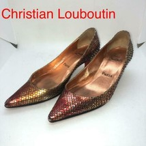 Christian Louboutin Low Heel Pumps Shoes Python Metallic EU 35 1/2 From ... - $220.00