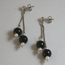 SOLID 18K WHITE GOLD EARRINGS, WITH WHITE PEARL AND BLACK ONYX, LENGTH 2.17 INCH image 1