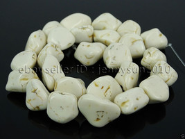 White Howlite Turquoise Gemstone 12mm Freeformed Nugget Loose Beads 16''... - $2.64