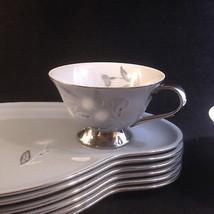 DeVille China Japan SAPPHIRE Blue Gray Flowers PLATINUM Snack Plate & Cu... - $14.68