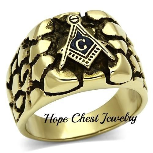 Primary image for MENS'S ENGRAVED GOLD STAINLESS STEEL NUGGET STYLE MASONIC RING SIZE 8 - 13