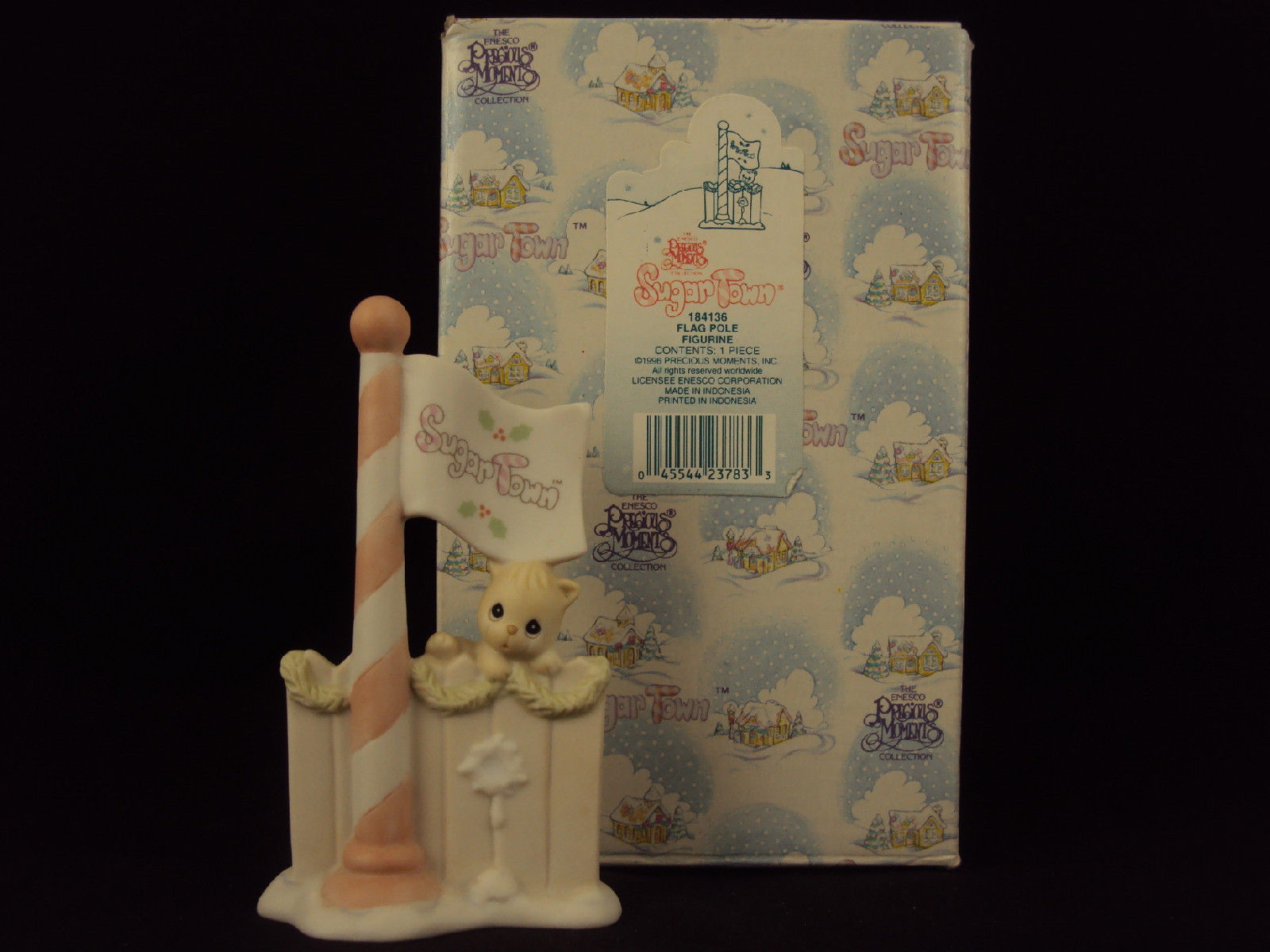 Primary image for Precious Moments Figurine #184136, Flagpole For Sugar Town, Heart Mark