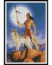 Native American and Wolf cross stitch chart Artecy Cross Stitch Chart - $14.40