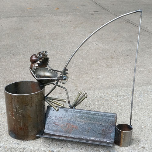 Primary image for Sugarpost Desk Bucket Fisherman Business Card Holder Office Welded Metal Art