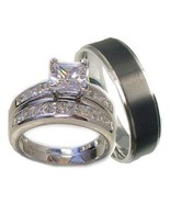 His & Her Wedding Ring Set 925 Sterling Silver ... - $49.49
