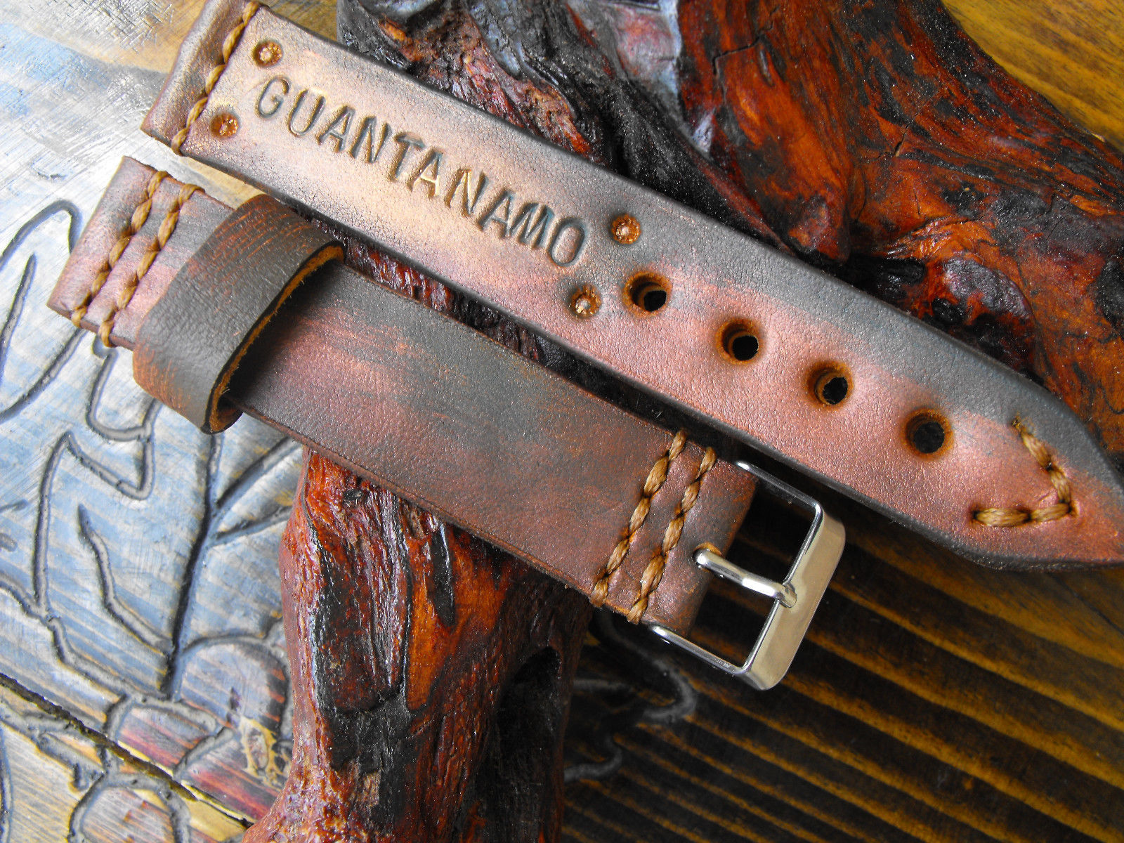 Primary image for 20mm leather watch strap #Guantanamo handcrafted strap antique style watch band