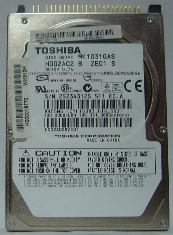 "New 100GB 2.5"" 9.5MM IDE 44PIN Drive Toshiba MK1031GAS HDD2A02 Free USA Shipping"