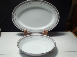"2 OVAL SERVING PIECES NORITAKE ""BARSTOW"" DINNERWARE CHINA~~mid century - $24.95"