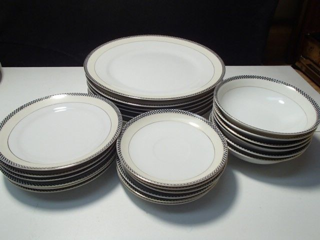 Primary image for 24 PC NORITAKE NIPPON BLACK & WHITE SQUARES~ GREEN MARK~EARLY DECO~~~~rare 1's