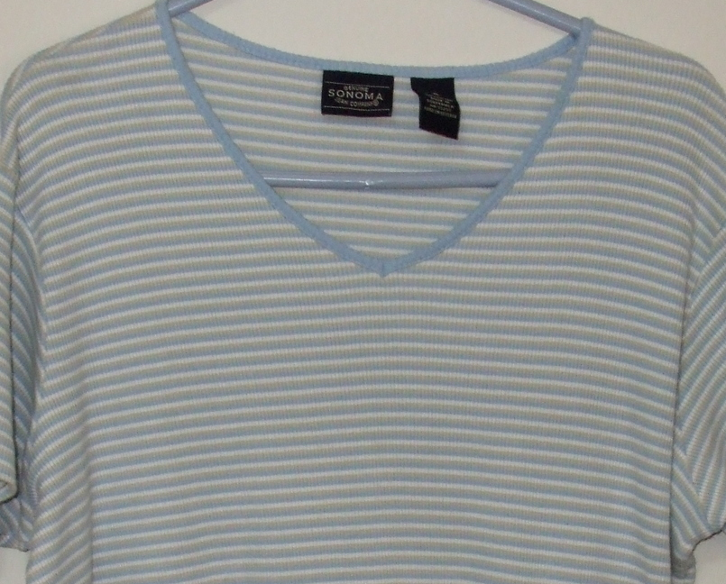 Womens Sonoma Jean Co Blue Tan White Short Sleeve Stripe V Neck Top XL