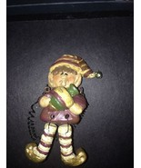 RESIN BLOSSOM BUCKET  ELF Christmas Ornament  with DANGLING/MOVING LEGS - $9.89