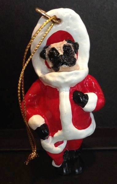 Primary image for PUG SANTA Christmas Tree  Ornament Figurine Statue  Fawn Dog