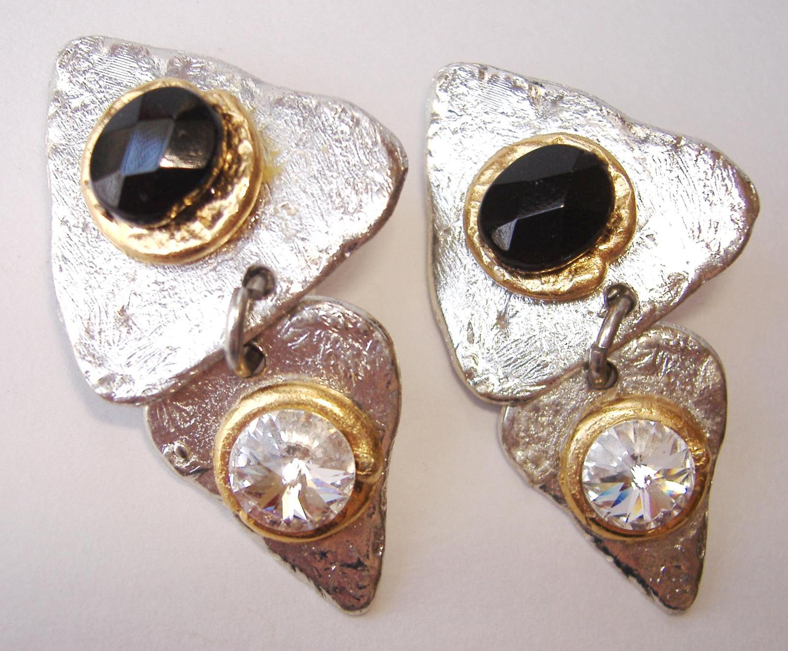 Primary image for Triangle Earrings Black Crystal Unique Handmade Clip On Silver Gold Non Pierced