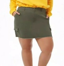 Forever 21 + Frayed Fringe Bottom Cargo Mini Skirt Olive Green Plus Size 1X NEW - $14.28