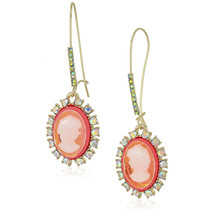 Betsey Johnson Gold Orange Resin Camo Crystal Dangle Drop Earrings NWT - $34.00