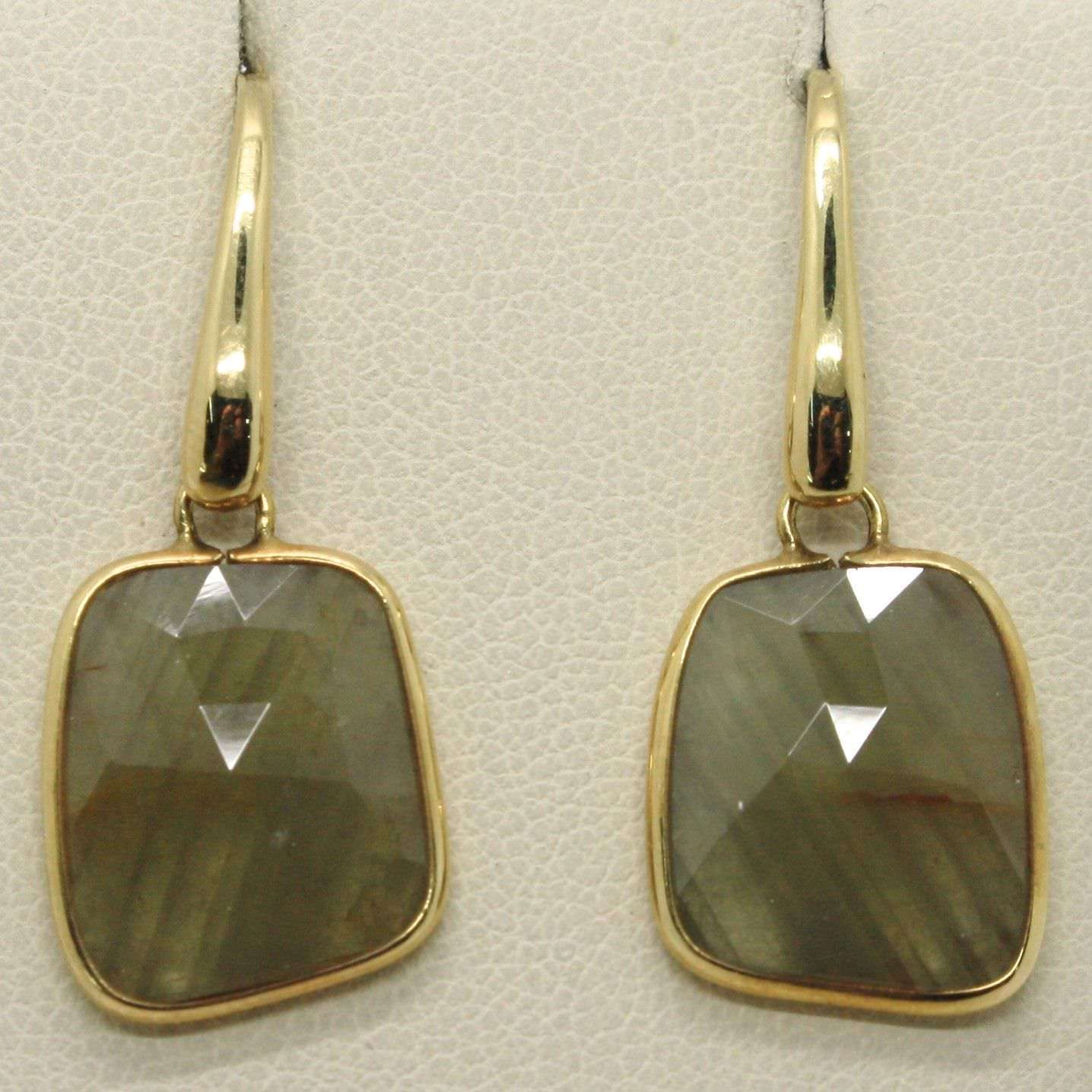 YELLOW GOLD EARRINGS 9K WITH SAPPHIRES GREEN BROWN MADE IN ITALY PIECE SINGLE