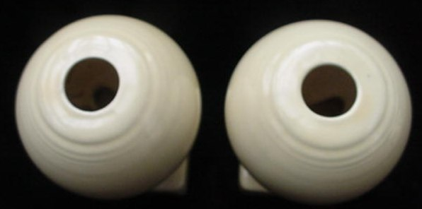 Old Art Deco Fiesta Ivory Bulb Pottery Candle Holders