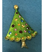 Estate Metallic Green w Colorful Rhinestones Christmas Tree Pin Brooch –... - $25.10