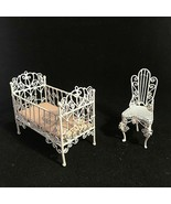 Vintage Dollhouse Furniture White Metal Wicker Wire Lot of 2 Pc Baby Bed... - $35.64