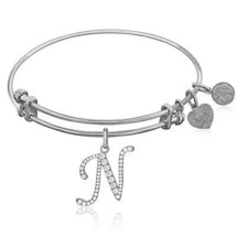 Expandable White Tone Brass Bangle with N Symbol with Cubic Zirconia - $31.68