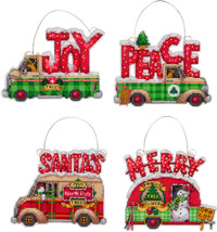 "Dimensions Plastic Canvas Ornament Kit 4/Pkg-Holiday Trucks Up To 5""X4"" ... - $18.78"